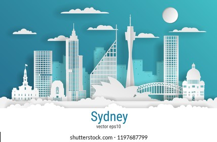 Paper cut style Sydney city, white color paper, vector stock illustration. Cityscape with all famous buildings. Skyline Sydney city composition for design