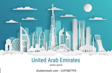 Paper cut style United Arab Emirates, white color paper, vector stock illustration. Cityscape with all famous buildings. Skyline UAE composition for design