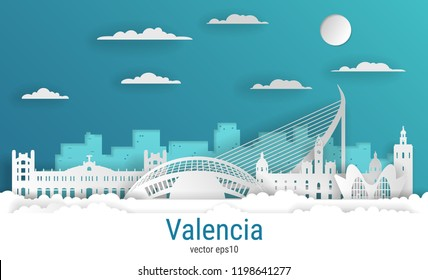 Paper cut style Valencia city, white color paper, vector stock illustration. Cityscape with all famous buildings. Skyline Valencia city composition for design