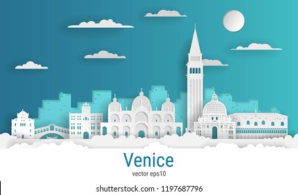 Paper cut style Venice Italy, white color paper, vector stock illustration. Cityscape with all famous buildings. Skyline Venice city composition for design