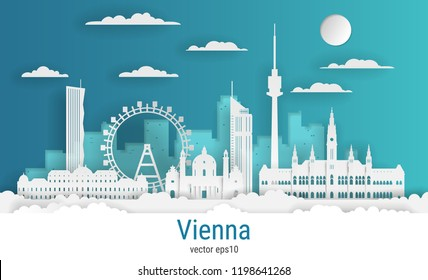 Paper cut style Vienna city, white color paper, vector stock illustration. Cityscape with all famous buildings. Skyline Vienna city composition for design