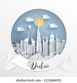 Paper cut style of world famous landmark of Dubai and buildings with white frame and label. Travel postcard and poster, brochure, advertising Vector illustration.