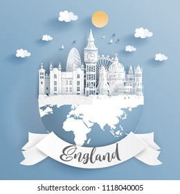 Paper cut style of world famous landmark of London, England on the earth with label. Vector illustration.