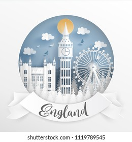 Paper cut style of world famous landmark of London, England with white frame. Travel postcard and poster, brochure, advertising Vector illustration.