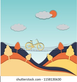 Paper cut summer landscape with green trees, bridge, bike, bright blue sky and clouds. Hiking and traveling concept. Vector illustration, cartoon graphic drawing