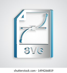 Paper cut SVG file document. Download svg button icon isolated on grey background. SVG file symbol. Paper art style. Vector Illustration