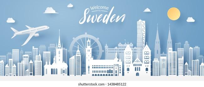 paper cut of sweden landmark, travel and tourism concept, eps 10 vector.