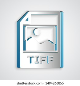 Paper cut TIFF file document. Download tiff button icon isolated on grey background. TIFF file symbol. Paper art style. Vector Illustration
