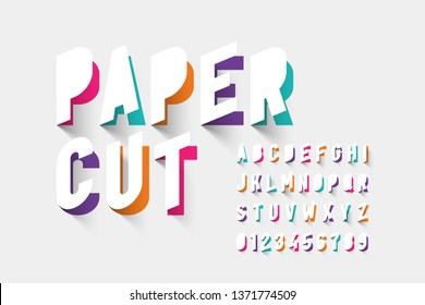 Paper cut typography, alphabet letters and numbers vector illustration
