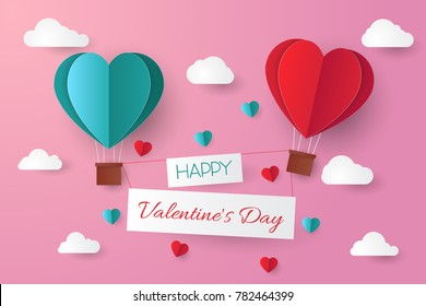 Paper cut valentine background.Vector illustration.