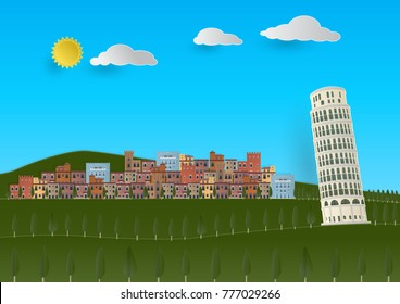 Paper cut vector illustration of Toscana Valley landscape with Tuscany style in Khao Yai, Nakhon Ratchasima, Thailand
