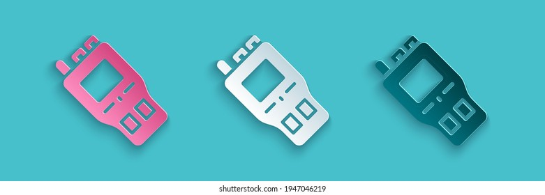 Paper cut Walkie talkie icon isolated on blue background. Portable radio transmitter icon. Radio transceiver sign. Paper art style. Vector