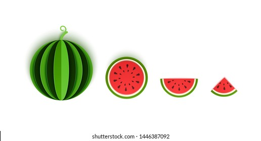 The paper cut watermelon berry is sliced with whole, triangular and round. Summer, sweet green melon juicy food. Vector card 3d illustration. Tropical papercraft layers fruit