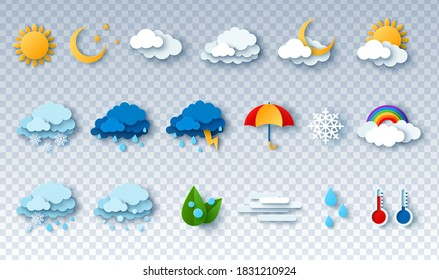 Paper cut weather icons set on transparent background. Vector illustration. White clouds, dew on leaves, fog sign, day and night for forecast design. Sun and thunderstorm stickers.