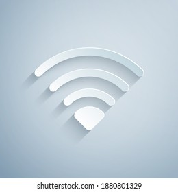 Paper cut Wi-Fi wireless internet network symbol icon isolated on grey background. Paper art style. Vector.