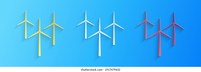 Paper cut Wind turbine icon isolated on blue background. Wind generator sign. Windmill silhouette. Windmills for electric power production. Paper art style. Vector.