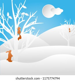 Paper cut winter background mit squirrel and rabbit