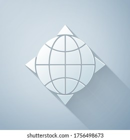 Paper cut World globe with compass icon isolated on grey background. Paper art style. Vector Illustration