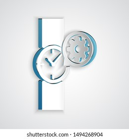 Paper cut Wrist watch and gear icon isolated on grey background. Adjusting app, service concept, setting options, maintenance, repair, fixing. Paper art style. Vector Illustration