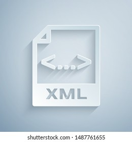 Paper cut XML file document. Download xml button icon isolated on grey background. XML file symbol. Paper art style. Vector Illustration