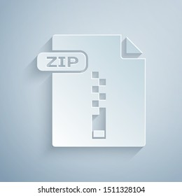 Paper cut ZIP file document. Download zip button icon isolated on grey background. ZIP file symbol. Paper art style. Vector Illustration