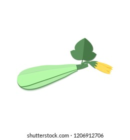 Paper cut zucchini. Origami squash whole. Vegetable marrow leaf and flower. Vector card illustration. Harvest courgette organic ingredient in paper art style