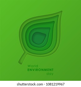 Paper cutout green leaf. World Environment Day, June 5. Eco friendly symbol. Ecology, environment, nature protection concept. Template for banner, poster, leaflet. Vector illustration
