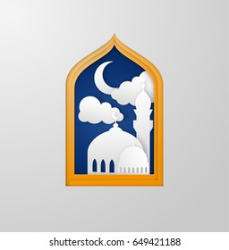Paper cutout ramadan kareem background with mosque clouds and crescent moon in golden frame. Vector EPS10.