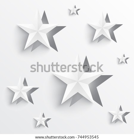 Paper Cutout Of Star Shape Origami Design With Shadows And Minimal White Colors Vector Illustration