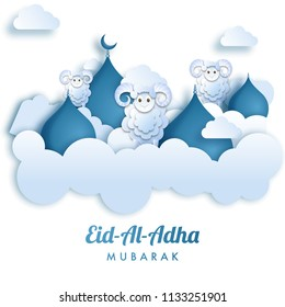 Paper cutout style Eid Al Adha mubarak greeting card design with illustration of sheep and dome on clouds for Muslim community festival celebration.