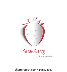 Paper cutouts of a plump strawberry. Contains blends, transparencies and gradients. EPS10 vector format