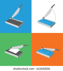 Paper Cutter Icon Set / Guillotine Illustrations for Hand Craft