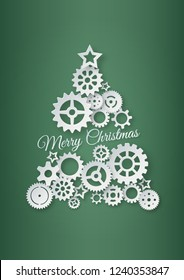 Paper cutting of Christmas tree from gears and cogs. Vector and illustration. Paper art and Origami.