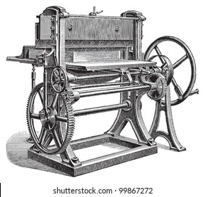Paper cutting machine / vintage illustration from Meyers Konversations-Lexikon 1897