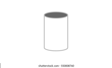 Paper cylinder. Vector sleeve image on white background. Illustration bathroom object. Icon fastener. Device cylindrical shape. machine part.