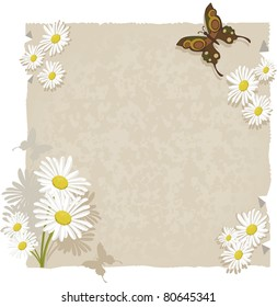 Paper with daisies and butterflies.Textured paper with daisy decorations and even butterflies. For use as background or ornaments.