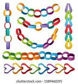 Paper decoration chains. Colored christmas party elements vector set