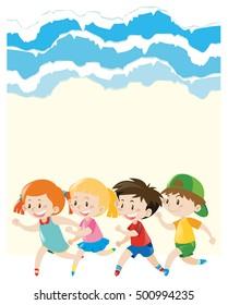 Paper design with children running around illustration
