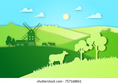 Paper design fields and meadow illustration eco natural farming concept. Farm landscape vector flat illustration for eco product package. Ecological green farming.