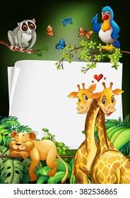 Paper design with wild animals background illustration