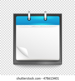Paper diary on transparent background. Template for a text