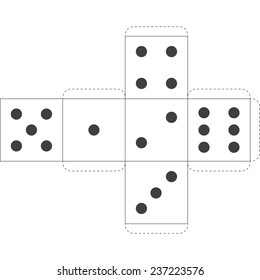 Paper Dice Template, Vector
