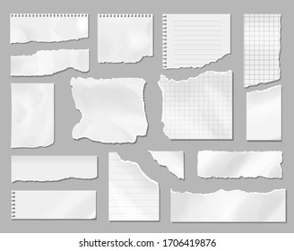 Paper different scraps set, Ripped page piece. Realistic torn note paper page, Vector illustration