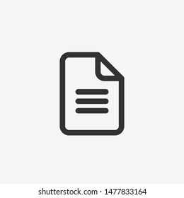 Paper document icon. Isolated Black symbol. Vector illustration on white background.