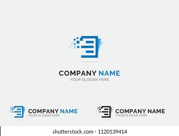Paper document logo vector for software agency, software house, printing service, software developer, accounting, finance company, banking, bookstore, book publishers.