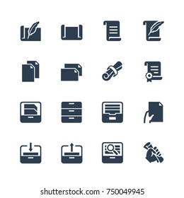Paper, documents and archive related icon set in glyph style