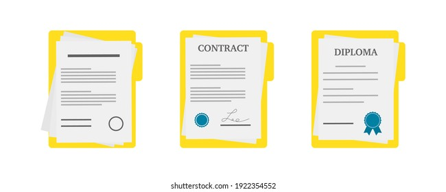 Paper documents icons. Contract or document signing icon.Set  of illustration  with diploma, contract documents . Document concept in flat  style . Vector . 10 eps