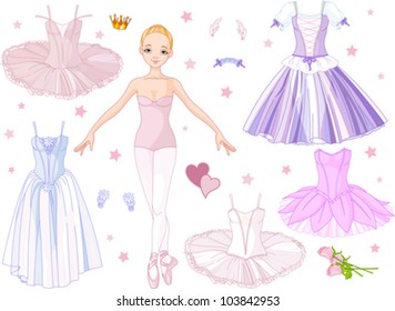 Paper Doll Ballerina with different   costumes
