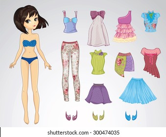 Paper doll of beautiful brunette girl and clothes for her