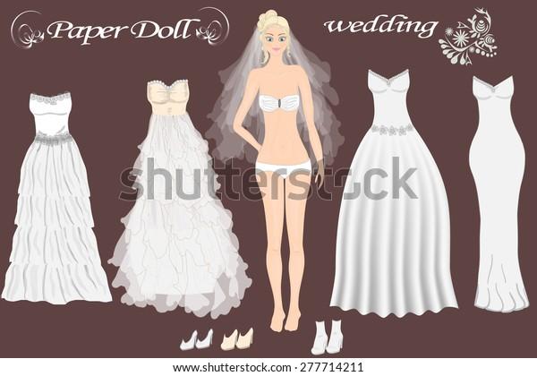 Paper Doll Beautiful Girl Wedding Dresses Stock Vector Royalty Free 277714211,Wedding Dress Makers Sydney